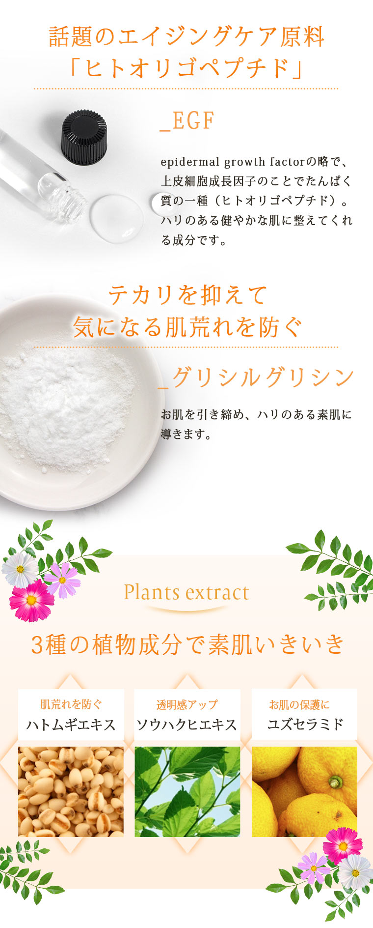 EGF・グリシルグリシン・植物エキス配合